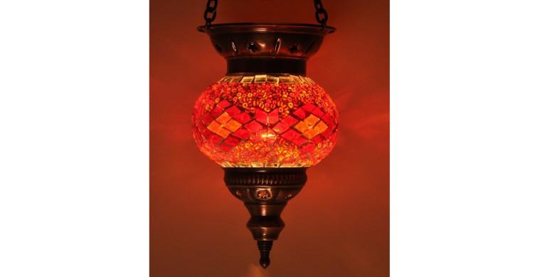 Askılı Mozaik Lamba 10 cm kırmızı