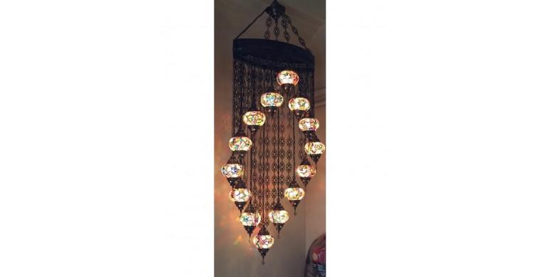 Su Yolu Askılı Mozaik Lamba 14 lu set 13 cm 7900 gr ağırlık