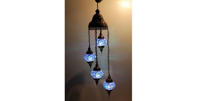 Su Yolu Askılı Mozaik Lamba 4 lü set 13 cm eni 90 cm boyu 3250 gr ağırlık